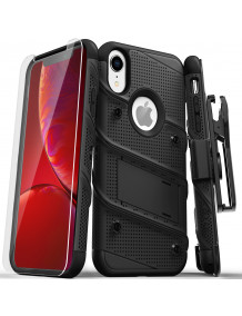 FOR IPHONE XR - BOLT CASE WITH BUILT IN KICKSTAND HOLSTER AND TEMPERED GLASS SCREEN PROTECTOR-BLACK & BLACK
