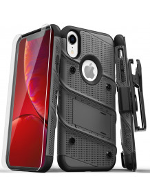 FOR IPHONE XR - BOLT CASE WITH BUILT IN KICKSTAND HOLSTER AND TEMPERED GLASS SCREEN PROTECTOR-GUN METAL GRAY & BLACK