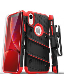 FOR IPHONE XR - BOLT CASE WITH BUILT IN KICKSTAND HOLSTER AND TEMPERED GLASS SCREEN PROTECTOR-BLACK & RED