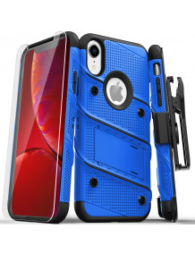 FOR IPHONE XR - BOLT CASE WITH BUILT IN KICKSTAND HOLSTER AND TEMPERED GLASS SCREEN PROTECTOR-BLUE & BLACK