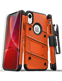 FOR IPHONE XR - BOLT CASE WITH BUILT IN KICKSTAND HOLSTER AND TEMPERED GLASS SCREEN PROTECTOR-ORANGE & BLACK
