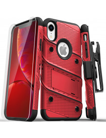 FOR IPHONE XR - BOLT CASE WITH BUILT IN KICKSTAND HOLSTER AND TEMPERED GLASS SCREEN PROTECTOR-RED & BLACK