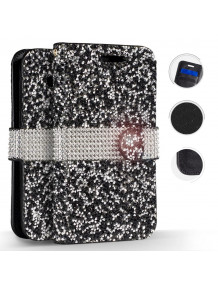 FOR IPHONE XR - FULL DIAMOND FLAP POUCH WITH CREDIT CARD POCKETS IN ZV BLISTER PACKAGING-BLACK